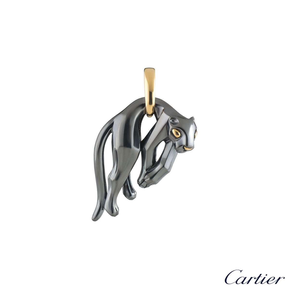 Cartier Yellow Gold and Silverium Hanging Panthere De Cartier Pendant